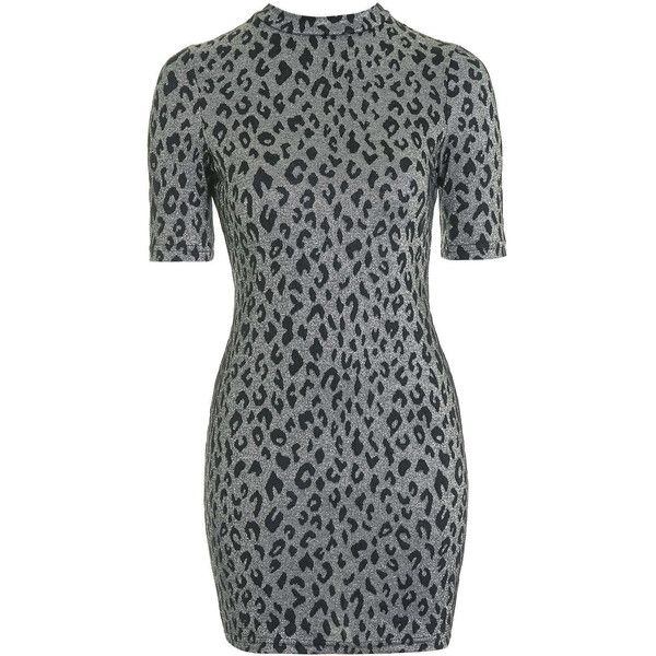 TOPSHOP PETITE Animal Print Bodycon Dress ($55) ❤ liked on Polyvore featuring dresses, petite, silver, petite dresses, animal print dress, zipper back dress, body conscious dress и topshop
