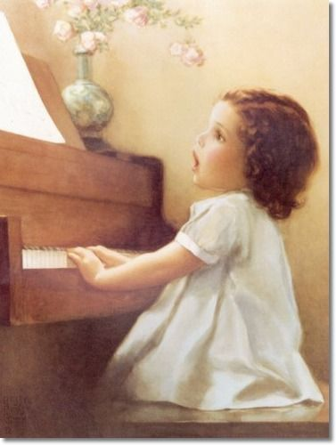 Bessie Pease Gutmann - Lizzie Listens to the Birds Singing and Likes to Harmonize with Them in Her Own Clear Pretty Voice Archival Fine Art Paper Print