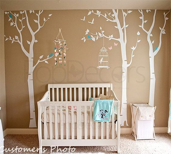 Nursery Tree Decals Baby Room Decal Girl Room Decal Birds and Butterfly Decal - Three birch trees and birdcage - (102inch H)