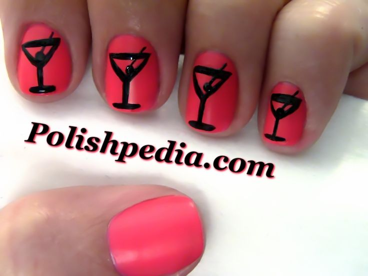 Martini New Years Nail Art check out www.MyNailPolishObsession.com for more nail art ideas.