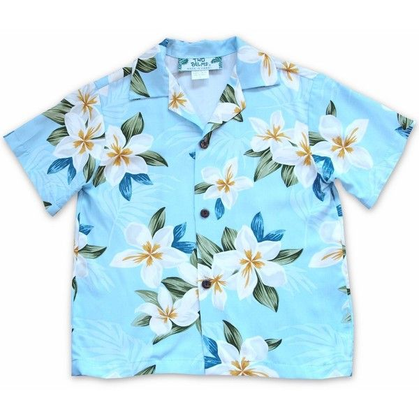 Escape Blue Hawaiian Boy Shirt ($25) ❤ liked on Polyvore featuring tops, beach shirts, hawaiian print shirts, blue colour shirt, hawaiian shirts and blue top