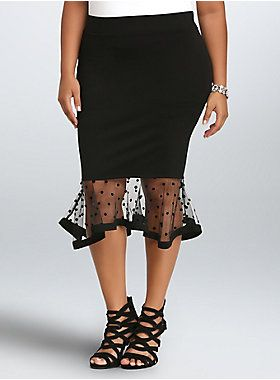 "<p>A little retro, a lotta sexy, this black midi was made to turn heads. Super stretchy (but curve-hugging) this pencil skirt gets a throwback touch thanks to the flared polka dot mesh hem. A thick waistband holds you in, the fit and flare cut kicks up your look.</p>  <ul> 	<li>Size 1 measures 27"" from center front</li> 	<li>Rayon/nylon/spandex</li> 	<li>Wash cold, dry low</li> 	<li>Imported plus size skirt</li> </ul>"