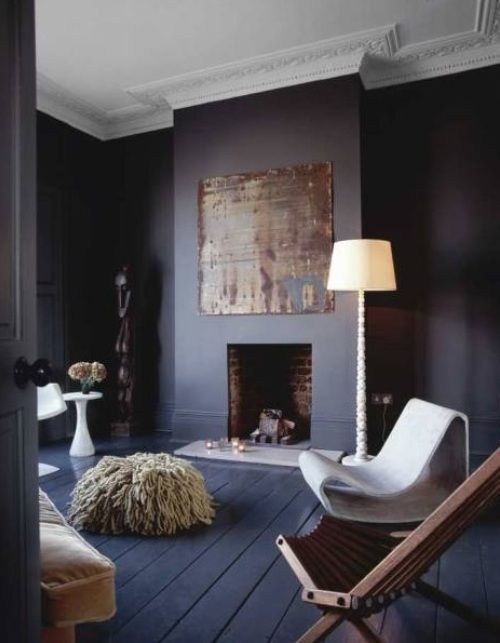 "abigail ahern I love the dark walls and the dark floor. Even though it appears to be a pretty big room, it just ""feels"" cozy._ textured seats"