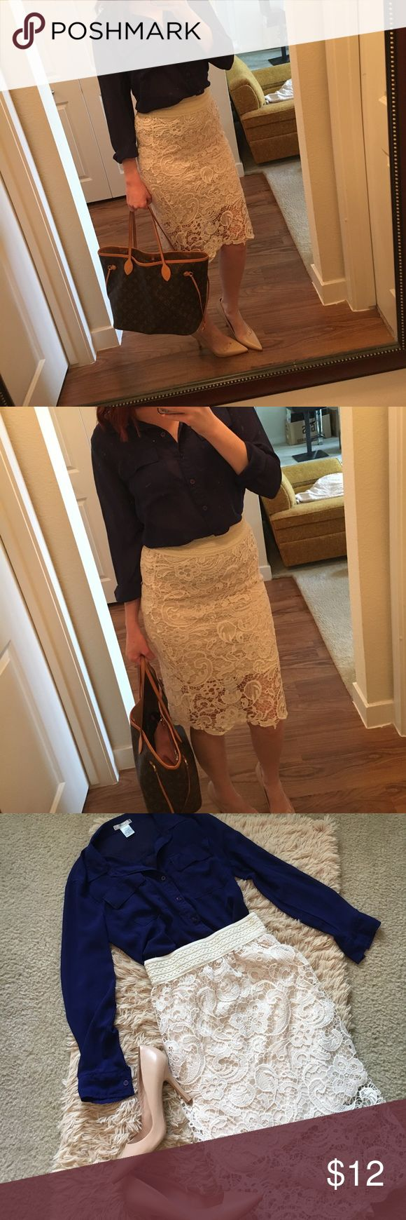 Cream Lace Skirt Cream Lace Skirt size S/M has some stretch. Elastic waist band, very stretchy. Skirt itself has some give. Photos show the length of the sewn in slip & how far it covers. Navy blouse available separately. Smoke free home. No trades please, will consider offers & bundles! N/A Skirts Pencil
