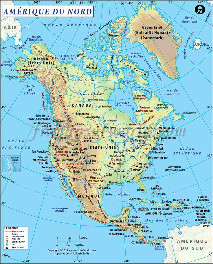 #Carte #Amérique du Nord le 3 et le quatrième plus grand continent le plus populaire