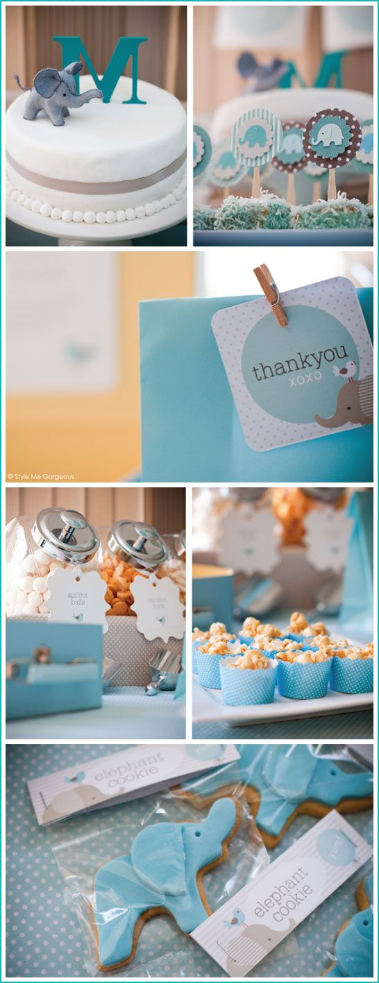 Elephant themed baby shower! I love this for our baby boy :)