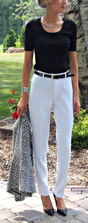 Classic Casual -  Black, white, and a little leopard