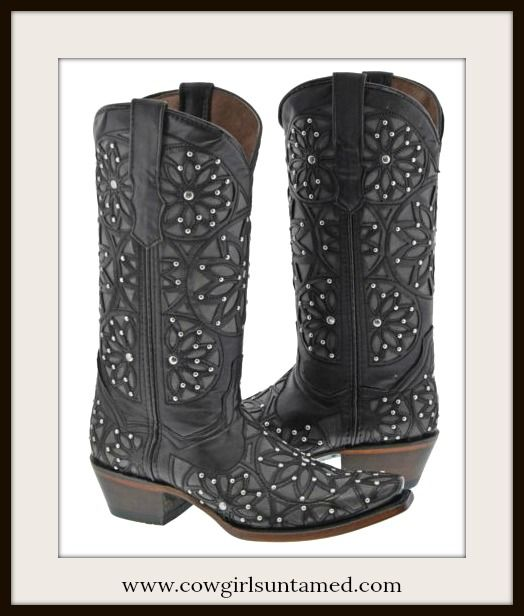 COWGIRL STYLE BOOTS Silver Studded Floral Overlay Black GENUINE LEATHER Boots  #cowgirlboots #boots #ladies #western #cowgirl #leather #studded #floral #overlay #beautiful #style #NFR #rodeo #barrelracing #boutique