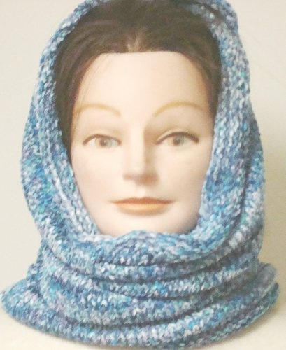 Hand Knitted and Hand Crochet Finished Two Ply Denim and Blue Space Dye Chenille Heavy Balaclava Neck Warmer Scarf Tube for Women and Teens to Wear in Very Cold Weather