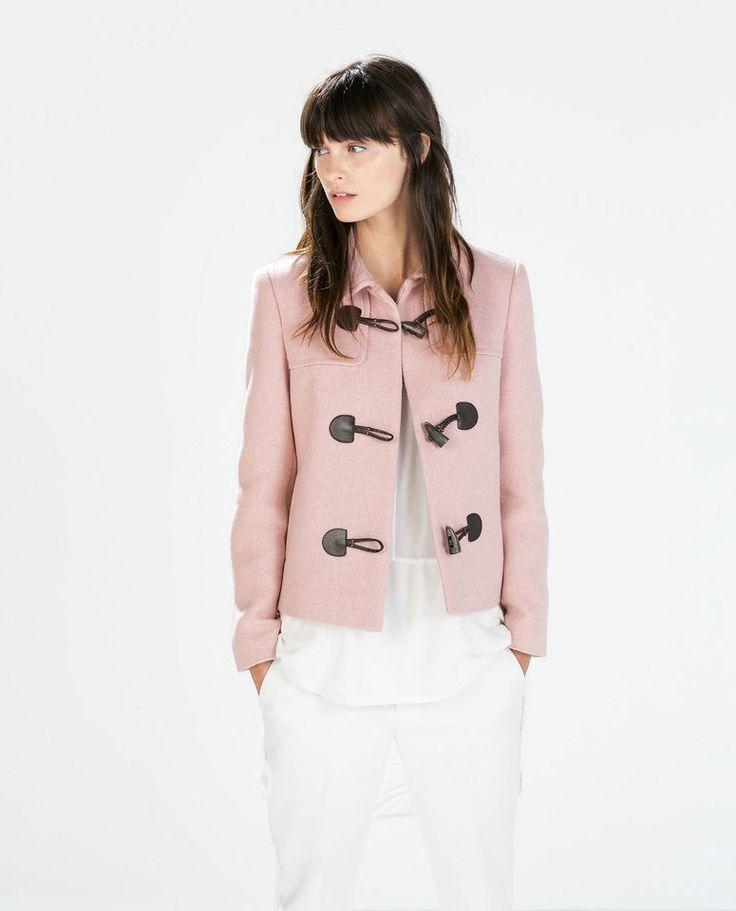 ZARA Pink Wool Blend Blazer Duffle Jacket with Toggles M 10 12 BNWT
