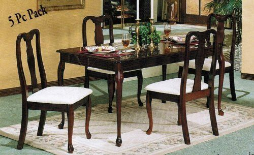 5-piece Cherry Finish Queen Anne Dinette Set by Acme Furniture. $379.00. Some assembly may be required. Please see product details.. 5-Piece Cherry Finish Queen Anne Dinette Set. Cherry Finish Queen Anne Table Size, 36 In. x 60 In.. Queen Anne Chair Size, 37 In.(H). Strong Construction. Easy To Assemble.. Save 42%!