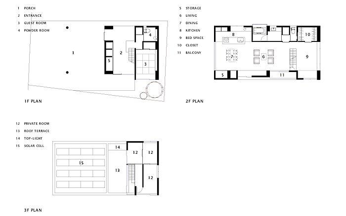 岡町の家 鉄骨3階建の開放的な家 図面