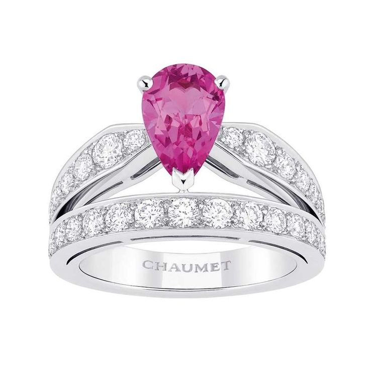Joséphine Tiara #pinksapphire #engagementring by @chaumet in platinum, set with a 1.00ct pear-shaped, non-heated pink sapphire surrounded by white #diamonds.