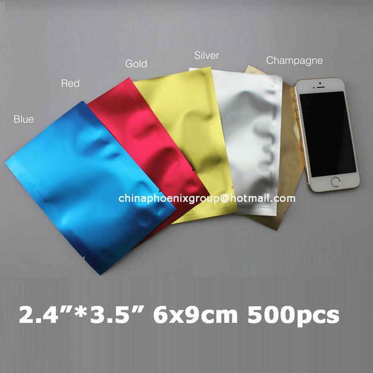 "500pcs/lot, 2.4""*3.5""_6*9cm Aluminum Foil Plastic Bag,Heat seal Aluminum foil bag,Plain pocket plastic gift Bag,5colours option"