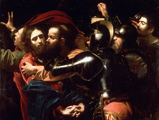 """""""The Taking of Christ"""" by Caravaggio (1602)."""