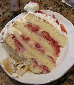 """Cleveland Style"" Italian Cassata Cake - . Has homemade custard filling, smushed strawberries, whipped cream."