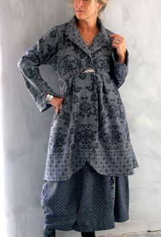 Terry Macey - autumn/winter 2013 - Long Scoop Jacket in grey/black patterned wool over Bubble skirt in wool.
