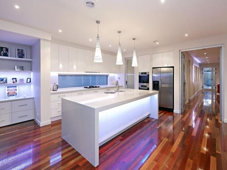 Beautiful Design Kitchen For Modern Ceiling Lights Above Marble Island With White Cabinets And Wood Flooring