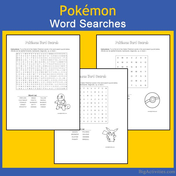 Love finding Pokemon? Try our Pokemon word search puzzles