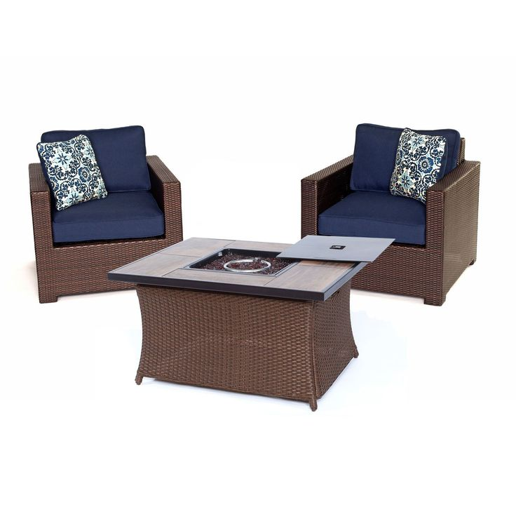 Hanover Outdoor Metropolitan Navy 3-piece Chat Set with LP Gas Fire Pit Table