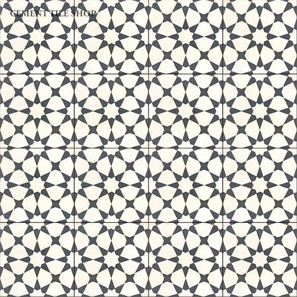 Cement Tile Shop - Encaustic Cement Tile Agadir White - $6.40 per 8x8 tile