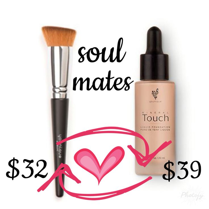 Younique liquid touch mineral foundation and liquid foundation brush. #LiquidGold #Younique #Soulmates