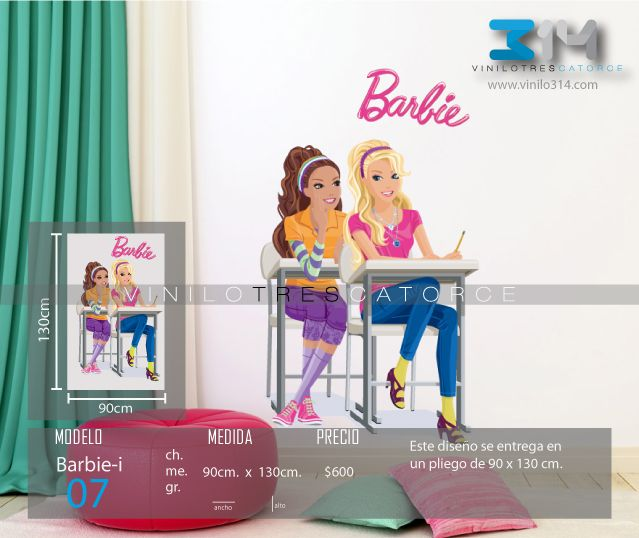 Vinilo 3 14 vinilos decorativos infantiles barbie for Decoracion hogares infantiles