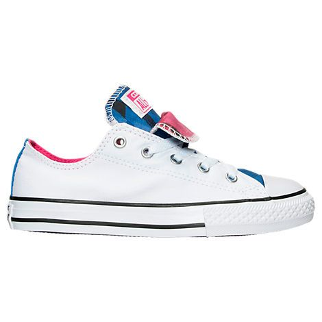 CONVERSE GIRLS' PRESCHOOL CHUCK TAYLOR ALL STAR DOUBLE TONGUE CASUAL SHOES, PINK/WHITE. #converse #shoes #