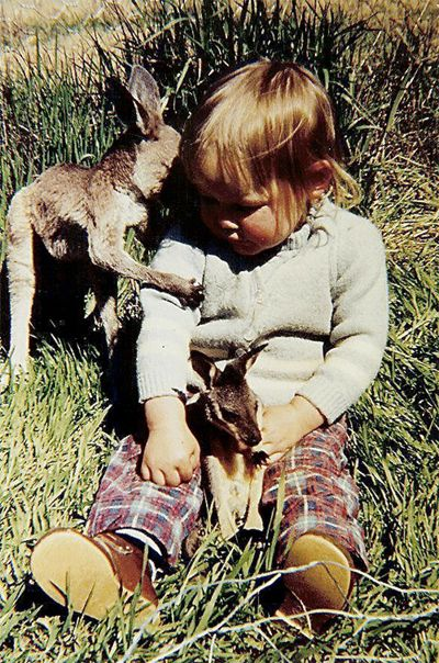Leah with kangaroos: Madame Dent - my first home was a sheep farm and these were our pet kangaroos