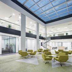 modern office lobby hall interior stock photo