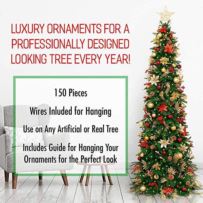 Amazon Com Easy Treezy Assorted Christmas Ornaments Set 150 Piece Seasonal Holiday Decor Decoration Sets Christmas Ornament Sets Holiday Decor Ornament Decor