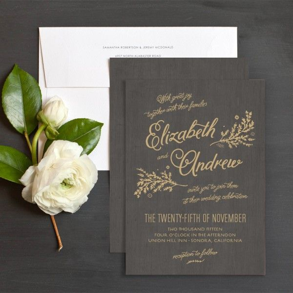 Rustic Chic Wedding Invitations with a wood grain background and gold lettering. Perfect for a rustic glam or rustic chic wedding theme. #rustic #weddinginvitation