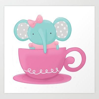 Elephant in a Tea Cup - Art Print by Pig & Pumpkin - Megan Downing