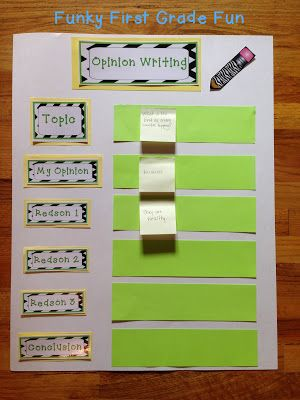 Funky First Grade Fun: Opinion Writing (Common Core) would be cute to laminate and write with a dry erase marker to change each day.