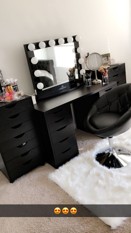 Beautiful black vanity makeup room! Has IKEA alex drawers and linnmon table top.