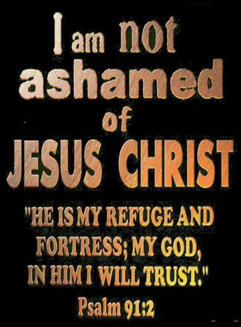 I am not ashamed of Jesus Christ. He is my refuge and fortress; my God, in Him I will trust. - Psalm 91:2