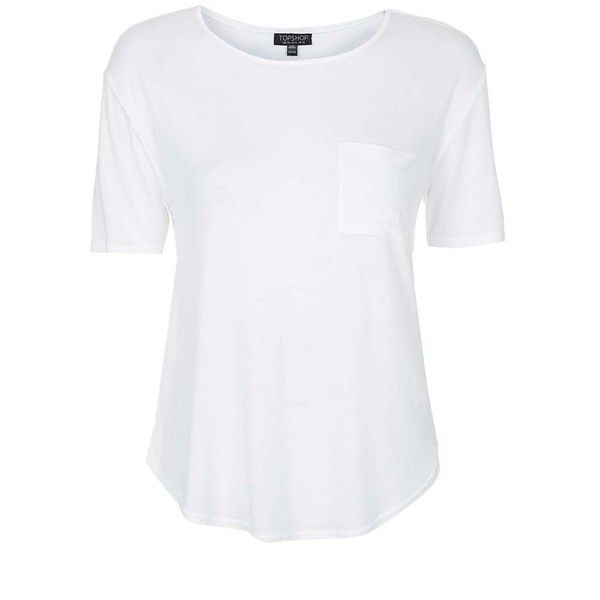 Topshop Pocket Tee ($25) ❤ liked on Polyvore featuring tops, t-shirts, curved hem tee, short sleeve crew neck tee, short sleeve tops, crew neck t shirt and topshop tops