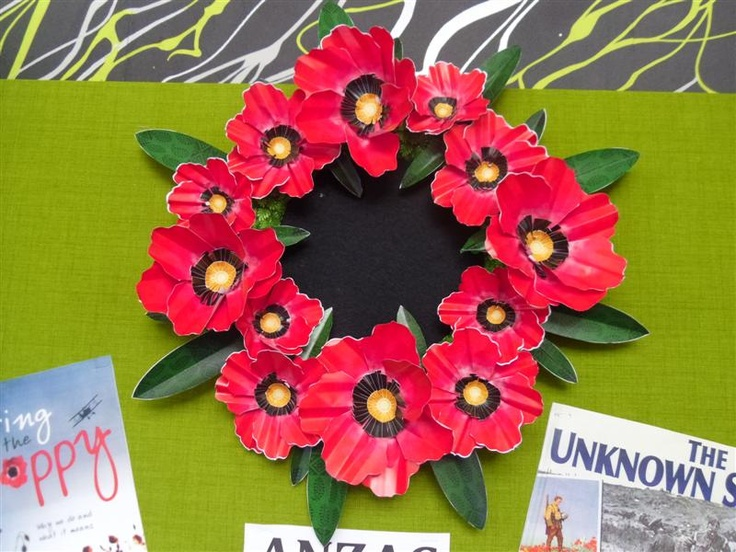 Cool paper wreath, instructions to make it at http://content.mooo.com.au/mooo_anzac_preview.php