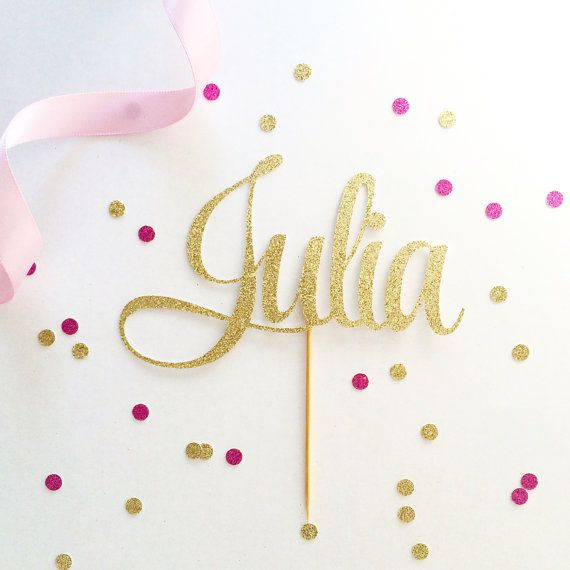 Name Cake Topper Customize to any name or word by TopperAndTwine