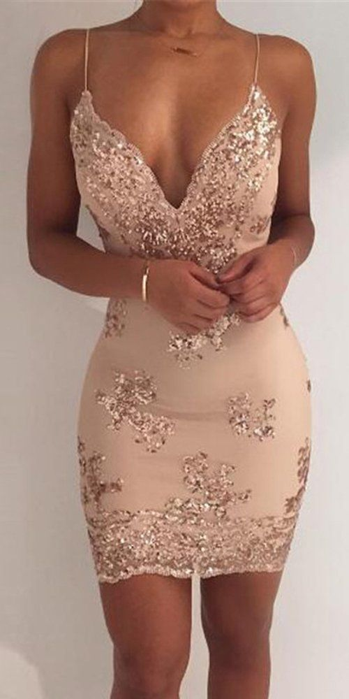 Nude sequined dress | Mini dress