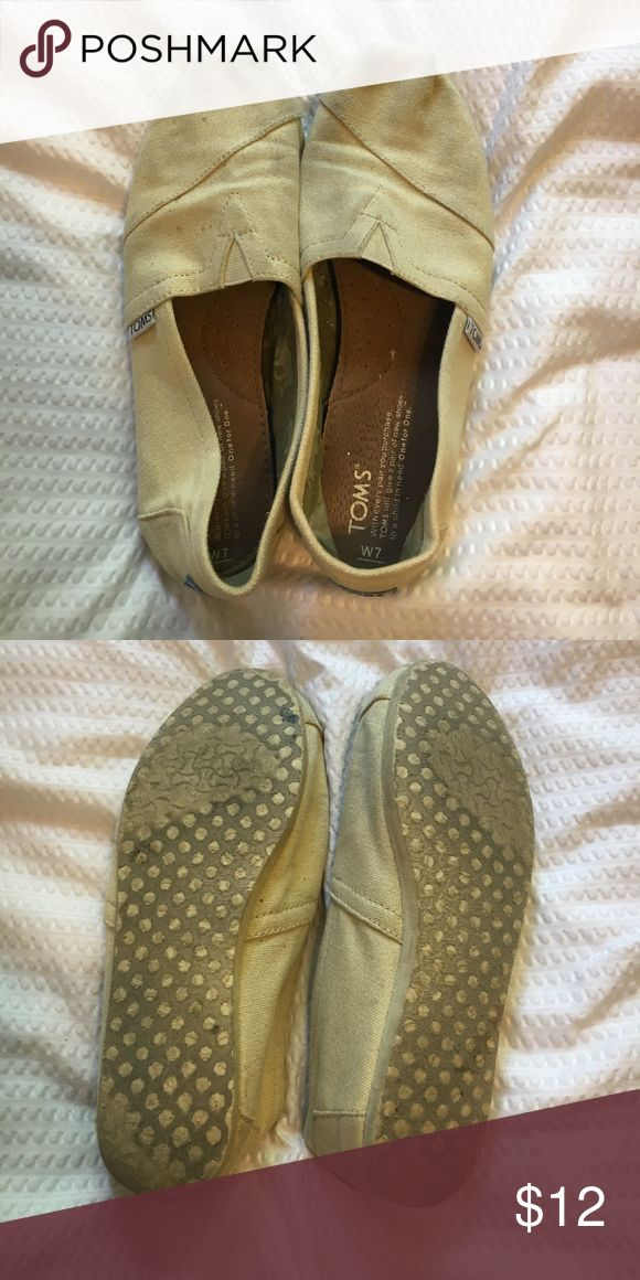 Cream Toms W7 worn, but no holes or anything. Still a lot of life left! Will wash to see if they can look more clean! Toms Shoes Flats & Loafers