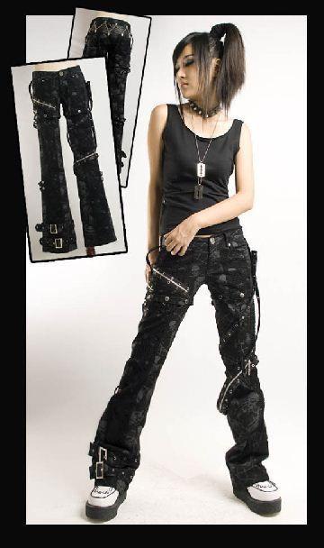 New sexy visual kei PUNK gothic rock removalbe pants skull printing