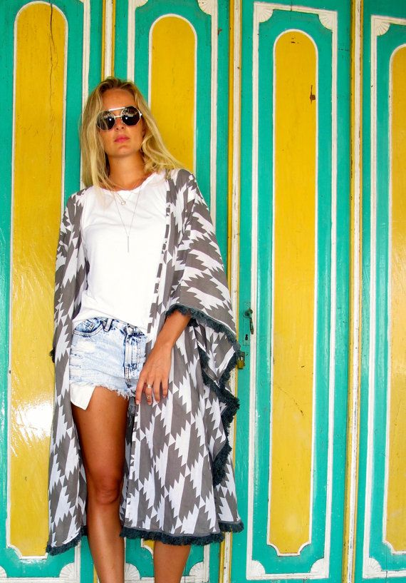 Cape  Dark Grey & White Chevron Print Tassel Kimono by ljcdesignss, $60.00