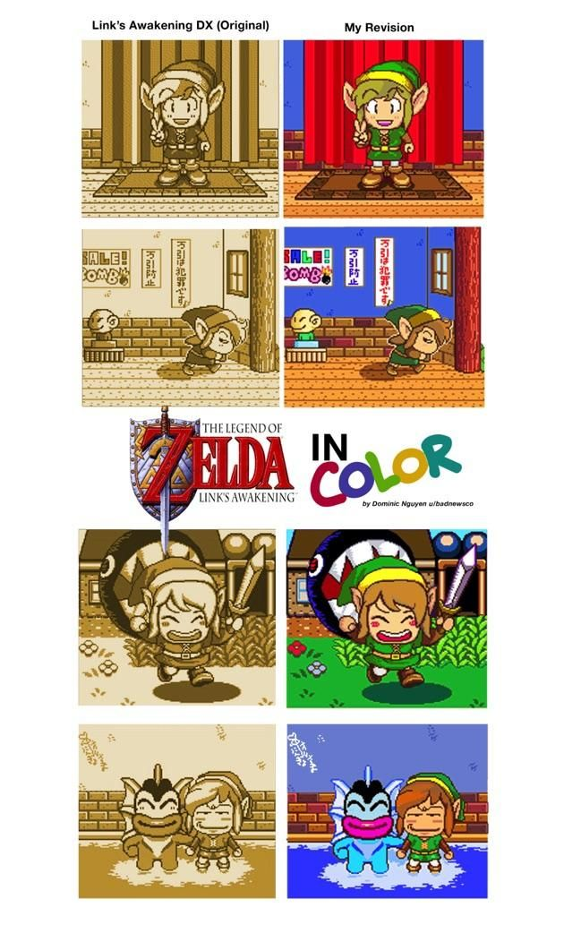 La Played Through Link S Awakening Recently And Wanted To Try Coloring The Game S Photograph Sections A Colorful 16 Bit Zelda Art Awakening Legend Of Zelda