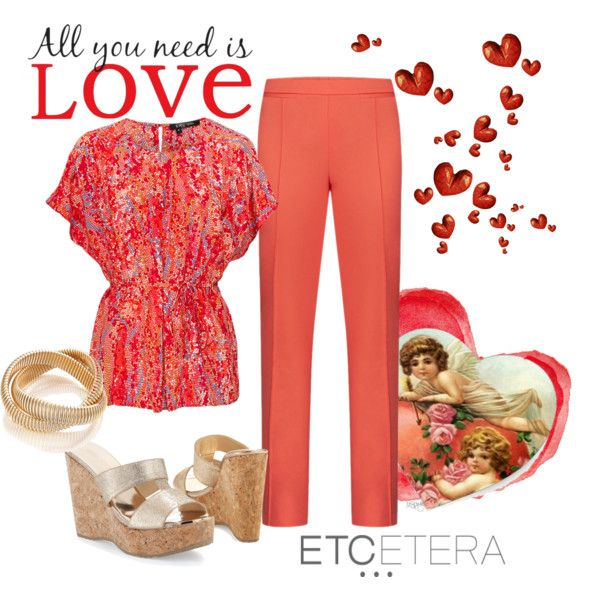 HAPPY VALENTINES DAY CORALREEF Silk Blouse With
