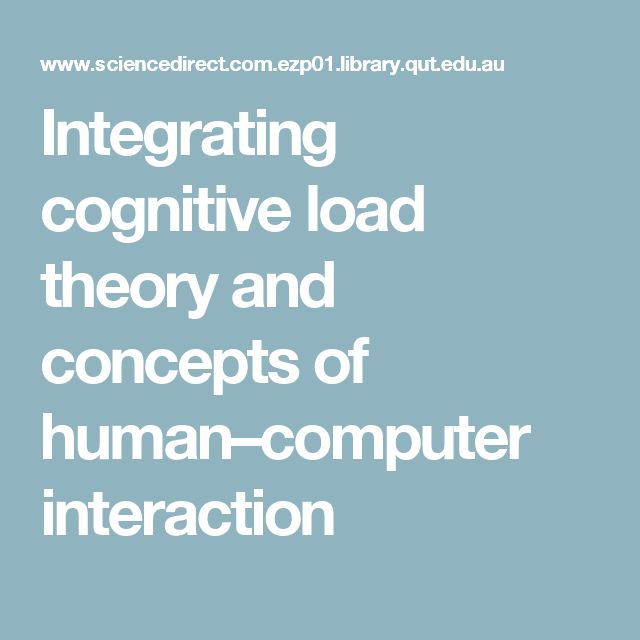 Integrating cognitive load theory and concepts of human–computer interaction