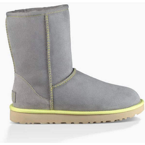 Ugg Classic Short II Neon Boots ($160) ❤ liked on Polyvore featuring shoes, boots, ankle booties, short ankle booties, short booties, ugg, sheepskin booties and sheeps boots