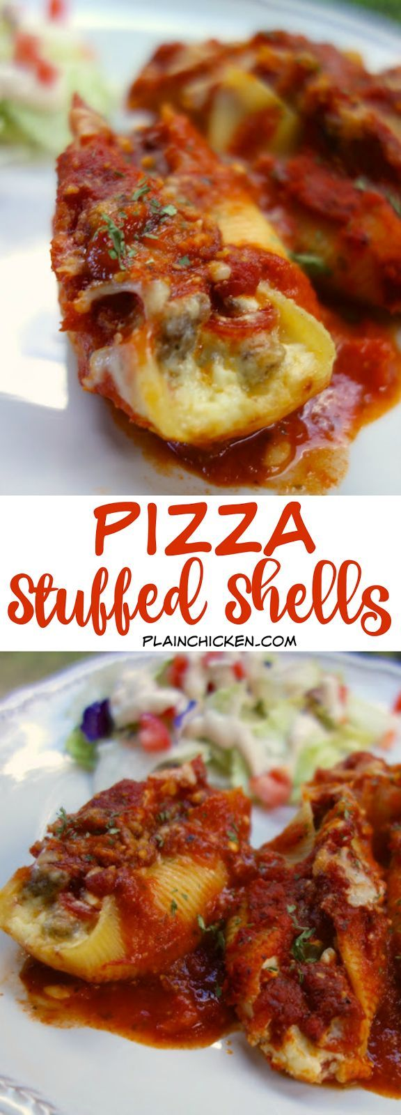 Pizza Stuffed Shells - jumbo pasta shells stuffed with cheese, sausage and pepperoni ,topped with spaghetti sauce and mozzarella - SO good! Kids and adults gobble this up!! Can make ahead of time and freeze for later.