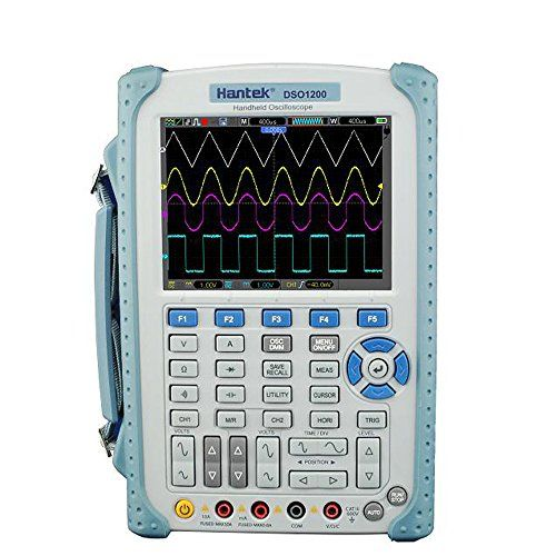 Hantek DSO1200 Handheld Digital Oscilloscope Multimeter 200MHz 500MSa/s 2 Channels  Professional DSO1200 portable oscilloscope with excellent industrial design: direct key for each channel, time base, trigger and DMM, easy to operate.  Large 5.7 inch TFT color LCD display, LED backlight, display clearly.  USB host/device 2.0 full-speed interface, support removable disk, LAN option, easy to control by PC or long-distance.  High bandwidth 200MHz oscilloscope, and 6000 COUNTS high precisi...