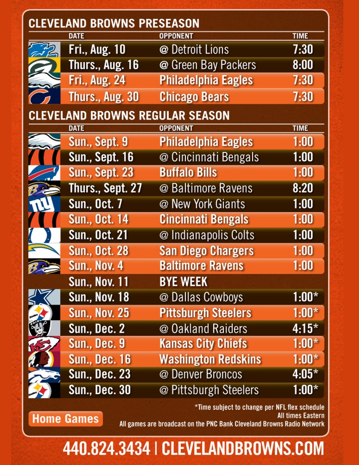 2012 Cleveland Browns Schedule